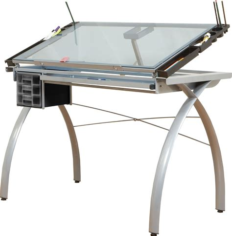 Utrecht Drafting Table Save On Discount Studio Designs Futura Crafting Station Silver Base And Blue Glass Top More