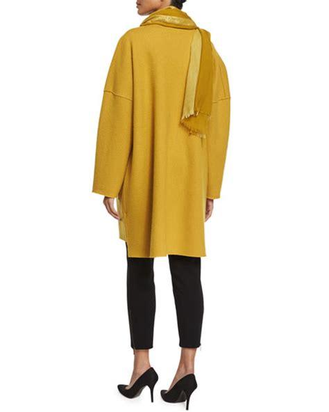 Nm Set Versi 4 Kimono Mustard eileen fisher boiled wool kimono coat striped metallic border scarf