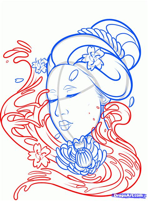 how to draw a geisha tattoo step by step tattoos pop