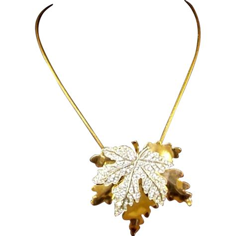mcclelland barclay gold and pave maple leaf pendant