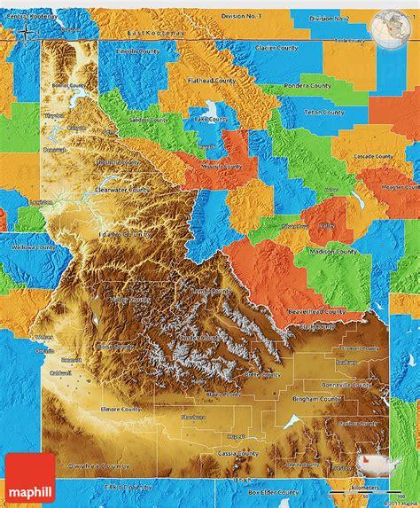 idaho physical map physical 3d map of idaho political outside