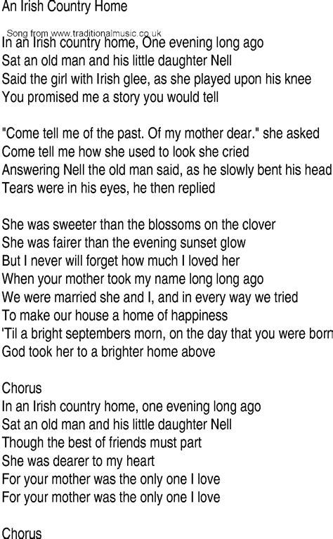 house music song lyrics irish music song and ballad lyrics for in an irish country home