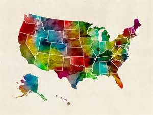 united states watercolor map digital by michael tompsett