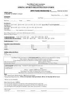 sport registration form template registration form template for sports