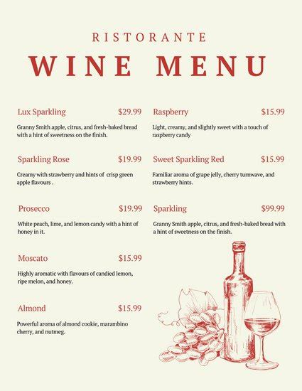 wine dinner menu template and illustrated wine menu templates by canva