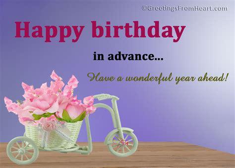 Advance Birthday Cards Happy Birthday Advance Greetings