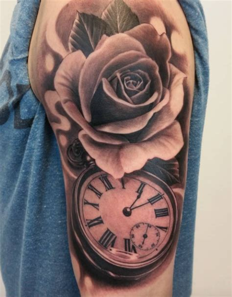 rose and watch tattoo inkstylemag