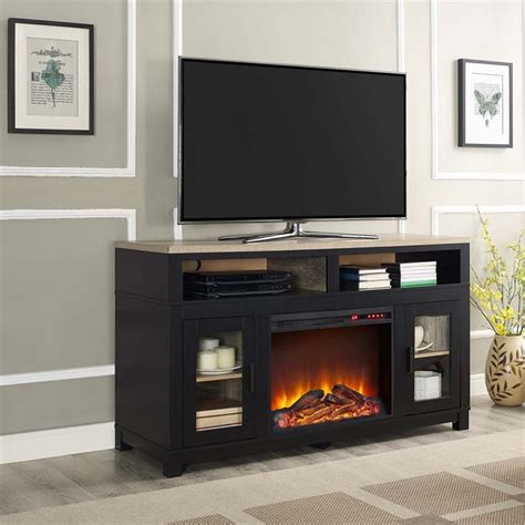 electric fireplace tv stand black electric fireplace tv stand in black 1774196com
