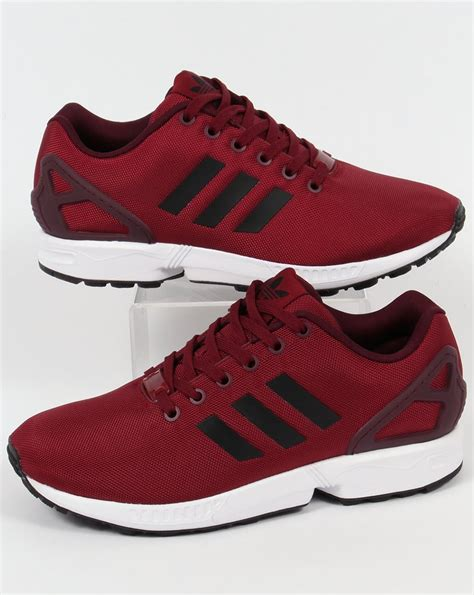 adidas zx flux trainers burgundy black originals shoes sneakers runner