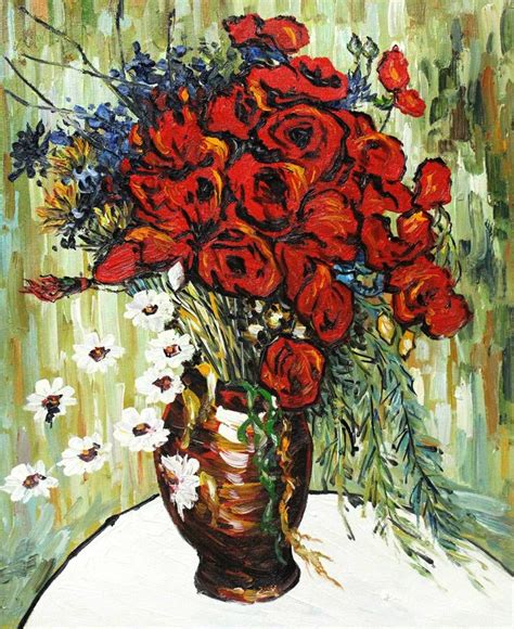 vase with daisies and poppies vincent gogh vincent