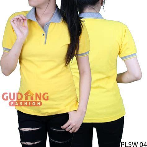 Kaos Wanita Kuning Polos polo shirt pendek wanita cotton pique kuning kenari kerah