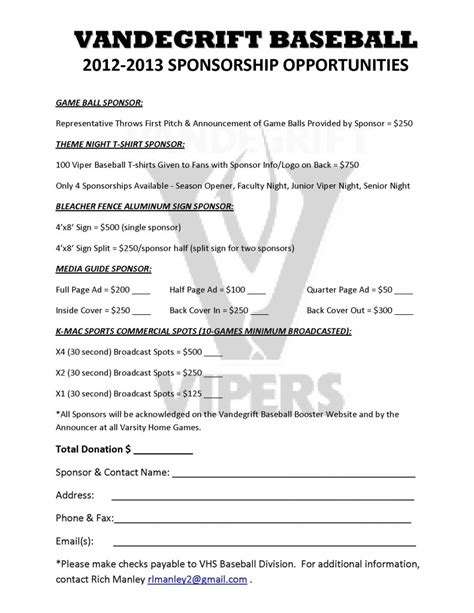Baseball Fundraising Letter Templates Vandegrift Baseball 2012 2013 Sponsorship Opportunities West Chamber Of Commerce