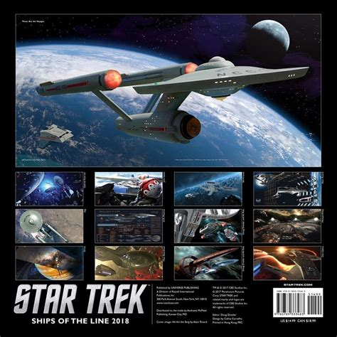 star trek official 2018 1785493868 star trek ships of the line 2018 wall calendar 9780789333483 calendars com