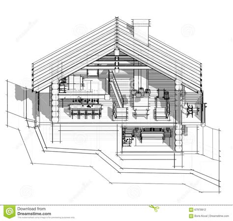 country section 3d section of a country house stock illustration