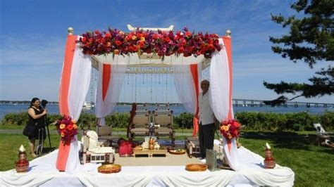 fabric and floral outdoor mandap, by Alankar Event