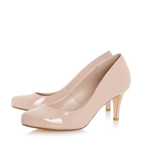 dune amelia mid heel court shoes in pink lyst
