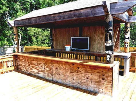 Home Pool Tiki Bar With Cool Green Landscaping Ideas Backyard Tiki Bar Ideas