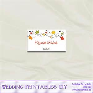 Diy Place Card Template Fall Wedding Place Cards Template Diy Autumn Leaves Table
