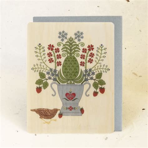 Strawberry Card Gold strawberry thief wood greeting card gold fox designs