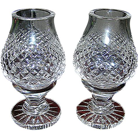 waterford crystal hurricane candle l ls pair waterford crystal hurricane fairy shades