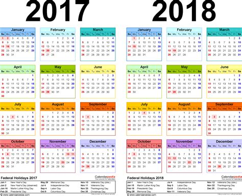Calendar 2018 Utd 2017 2018 Calendar Free Printable Two Year Pdf Calendars