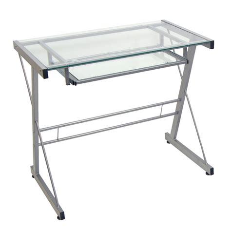 silver glass computer desk sears