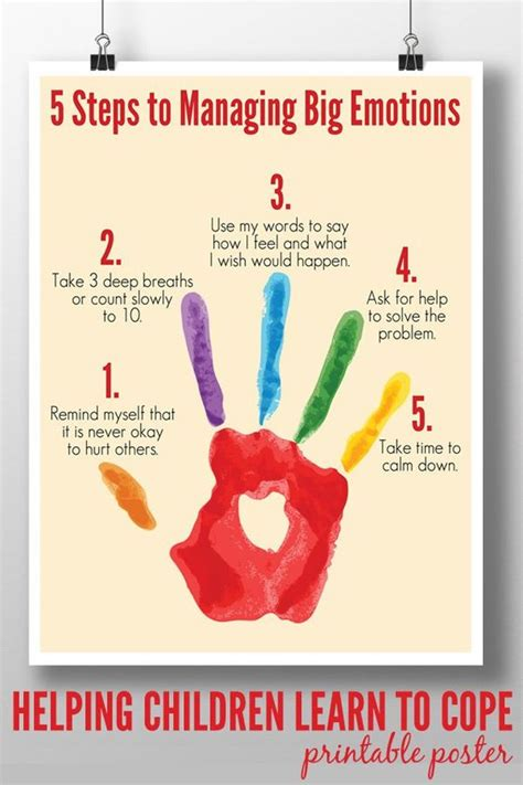 printable emotions poster 5 steps to managing big emotions printable hand prints
