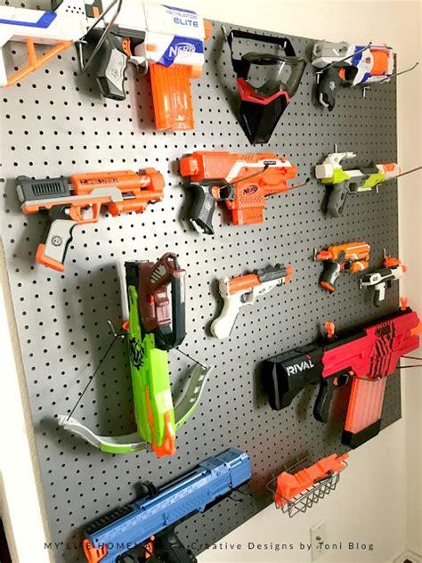life homemade diy nerf gun storage wall