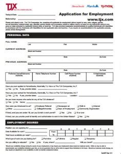 home goods application tj maxx application printable forms