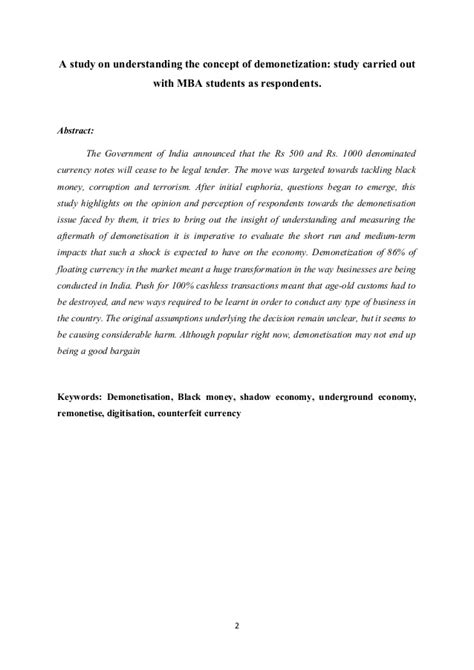 Notes For Mba Students by A Study On Understanding The Concept Of Demonetization