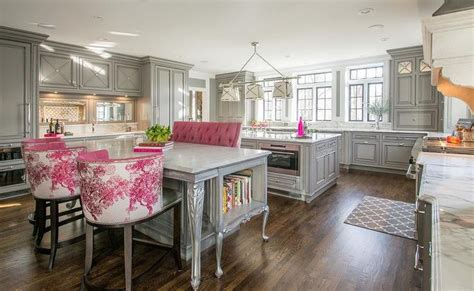 grosvenor kitchen design gray and pink kitchen features gray cabinets paired with