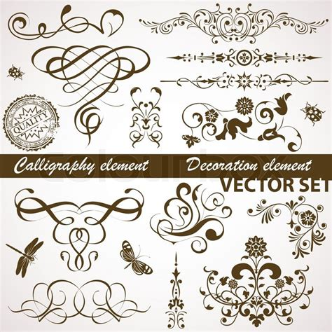 calligraphic text design elements vector collect calligraphic and floral element for design vector