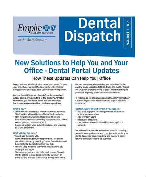 8 Sle Office Newsletters Sle Templates Dental Newsletter Template