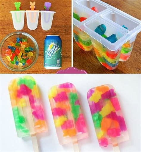 diy gummy bear popsicles with sprite