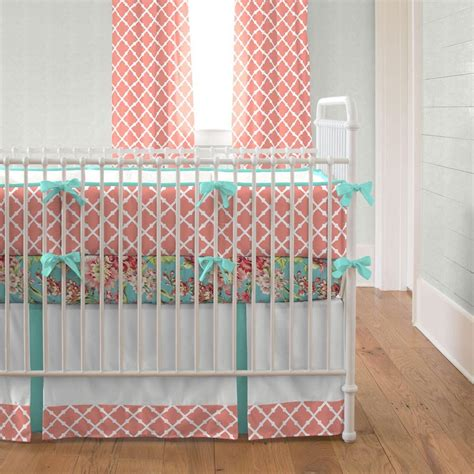teal crib bedding set light coral and teal lattice 2 crib bedding set