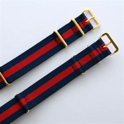 Nato 2 Navy 2 Purple Buckle Gold navy blue stripe quot pepsi quot nato with gold buckle heat sealed 18mm or 20mm