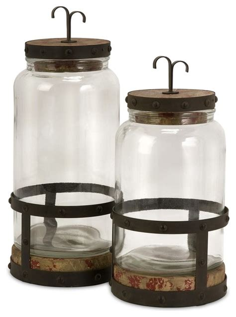 Farmhouse Kitchen Canister Sets And Imax Sloan Lidded Canister Set X 2 55365 Farmhouse
