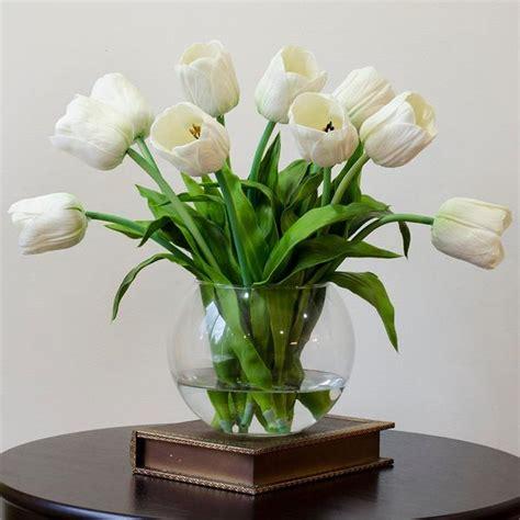 home decor floral arrangements tulip silk flowers real touch white tulips arrangement flovery