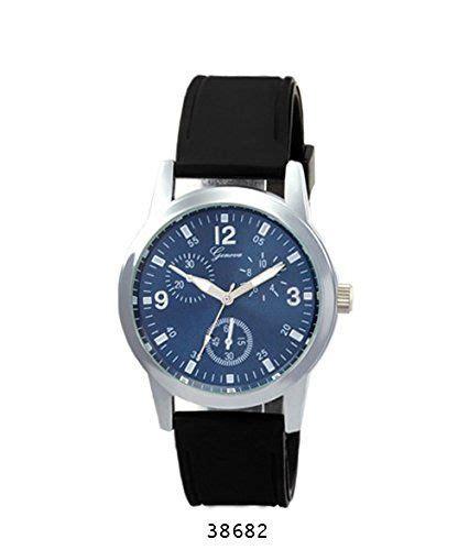 geneva black rubber band with silver black geneva worldfashion24 watches