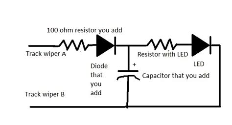 resistor parallel to diode installing a capacitor to a passenger car led light so it stays lit intermittent power loss