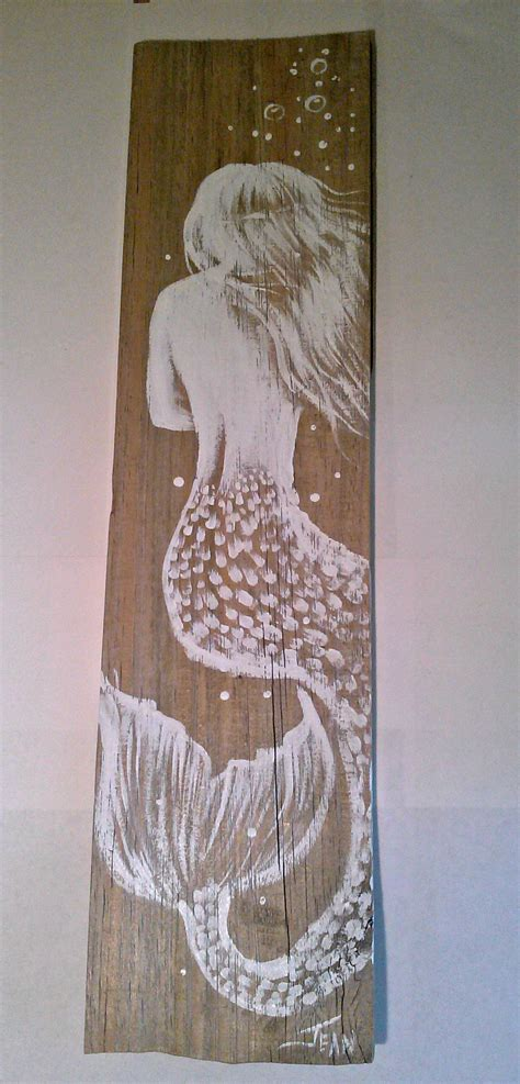 hand painted mermaid  distressed board hand crafted