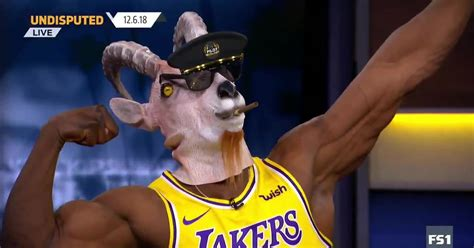 shannon sharpe busted   goat mask  lebron jersey   kings big game