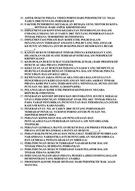 Skripsi hukum perdata dan pidana