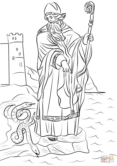 St. Patrick Driving Snakes out of Ireland coloring page