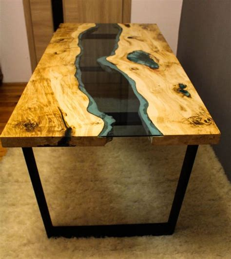 SOLD Live edge river table with with blue epoxy SOLD   Legs, Epoxy and Metals
