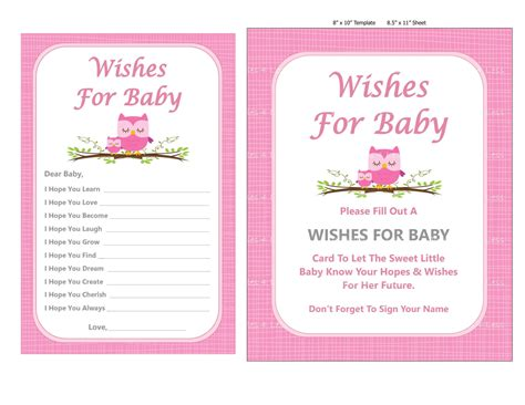 wishes for pink owl wishes for baby printable pink owl baby