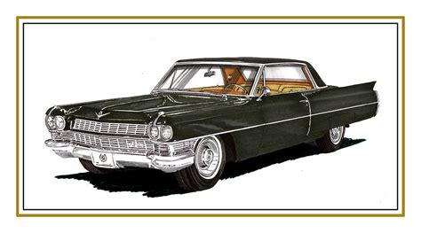 Duvet Green 1964 Cadillac Coupe Deville Painting By Jack Pumphrey