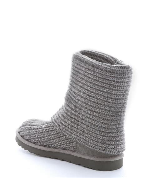 grey knit boots ugg grey rib knit wool classic cardy boots in gray lyst