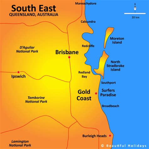 map of australia and surrounds brisbane surrounds map showing attractions accommodation