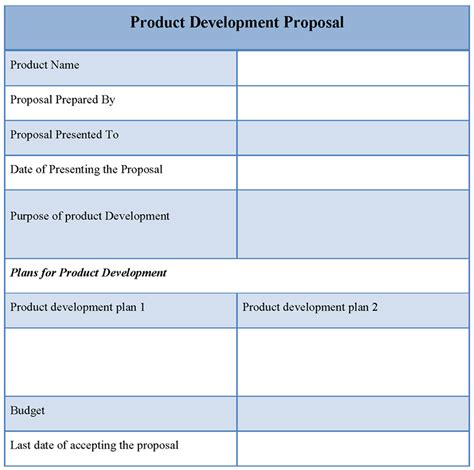 product template for development proposal exle of